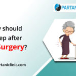 How should I sleep after hip surgery?
